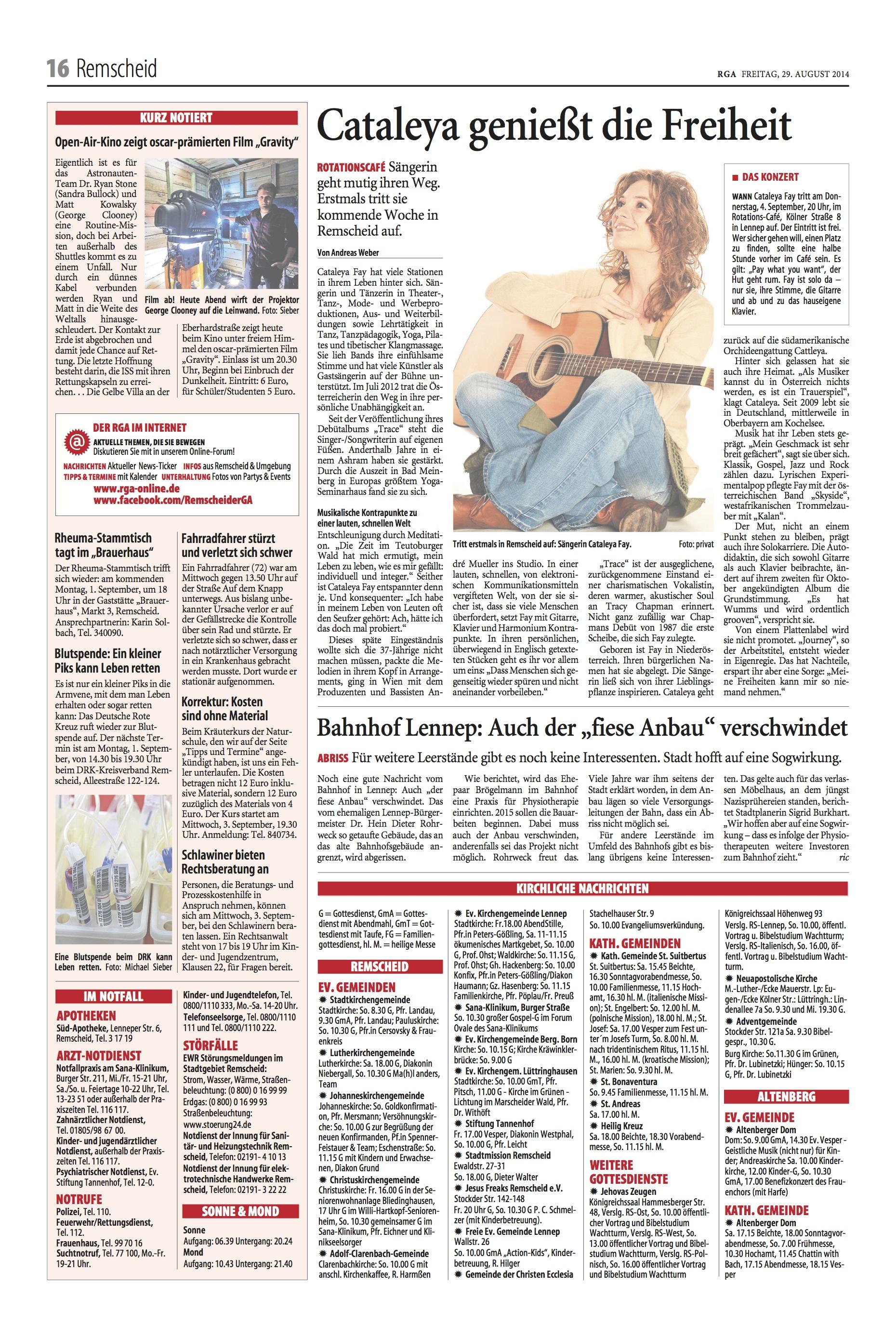 2014-08 Artikel im Remscheider Generalanzeiger