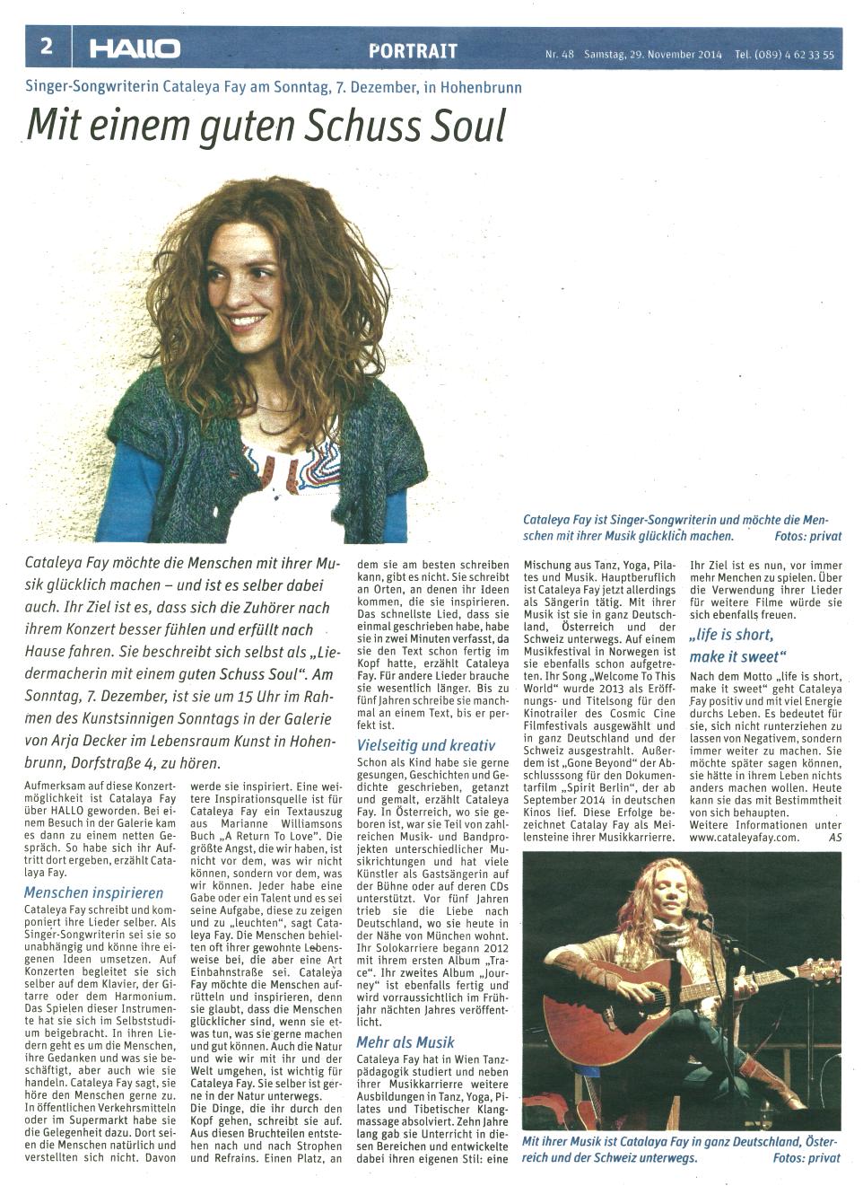 2014-11-29 Bericht im Hallo-Magazin (Scan)