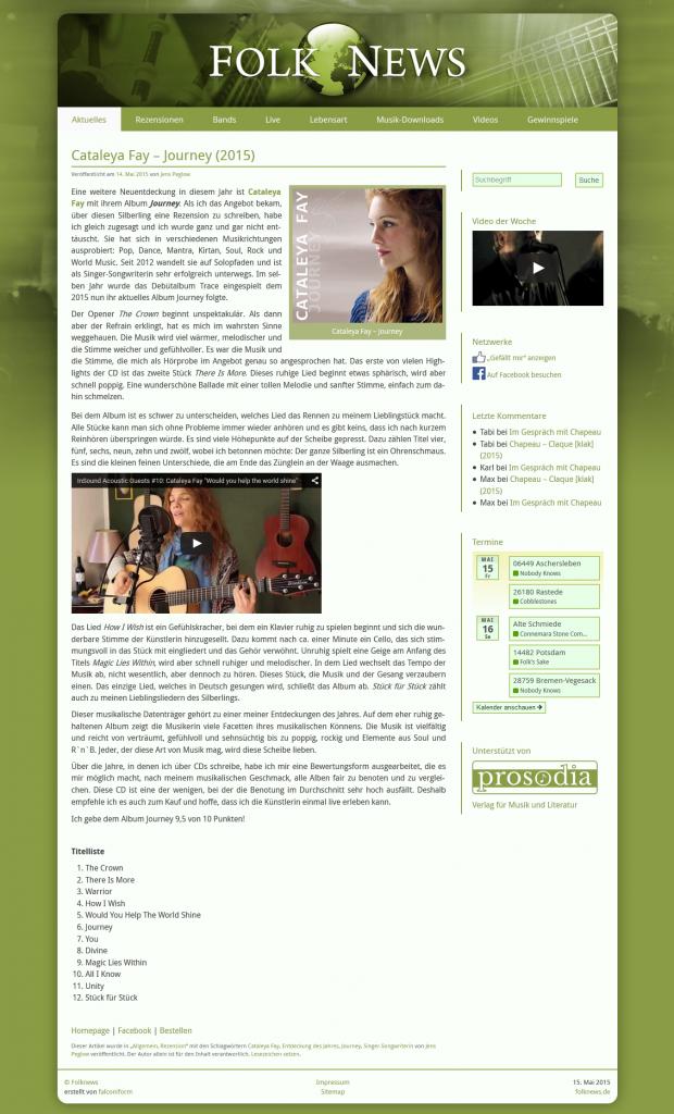 Folk News: Rezension zu CD Journey, Mai 2015