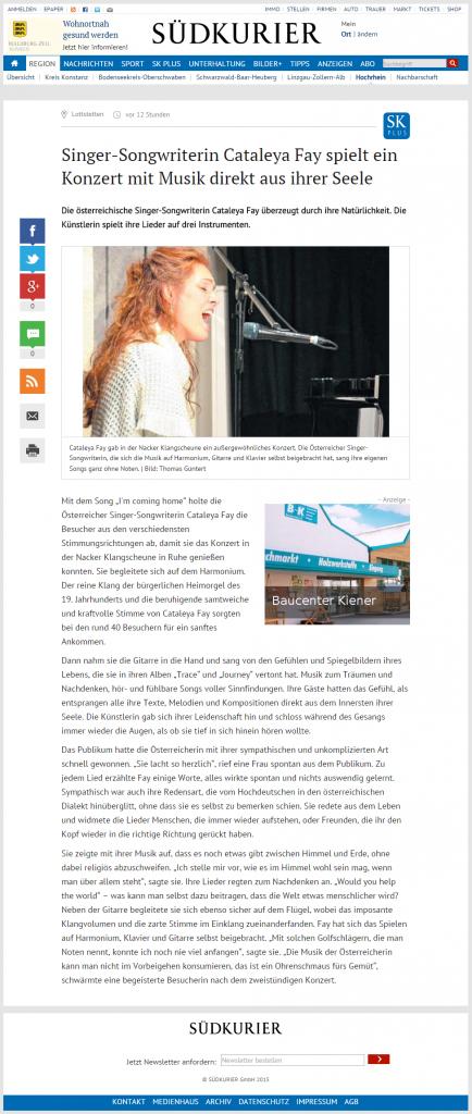 2015-11-16 Südkurier Konzertnachbericht Klangscheune