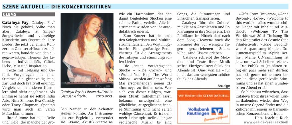 Hirsch-Konzertrezension im Reutlinger-Generalanzeiger